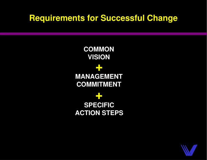 Requirements for Successful Change