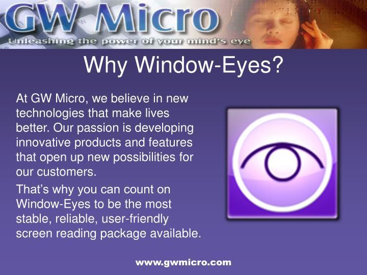 Why Window-Eyes?