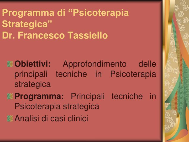 """Programma di """"Psicoterapia Strategica"""""""