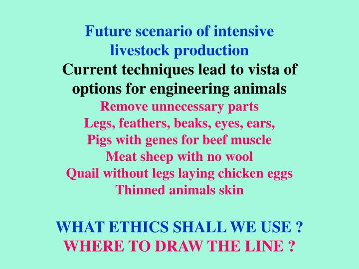 Future scenario of intensive