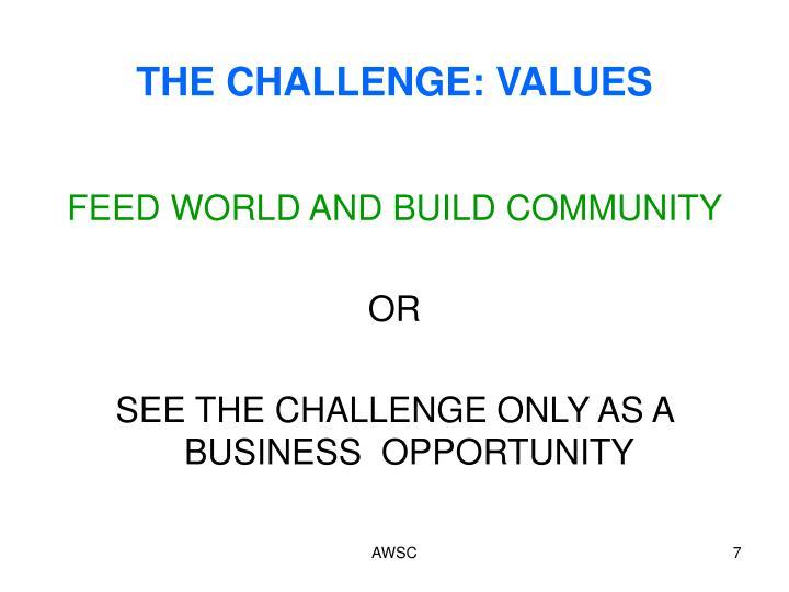 THE CHALLENGE: VALUES