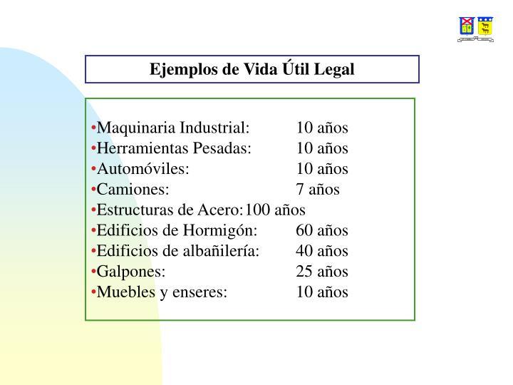 Ejemplos de Vida Útil Legal