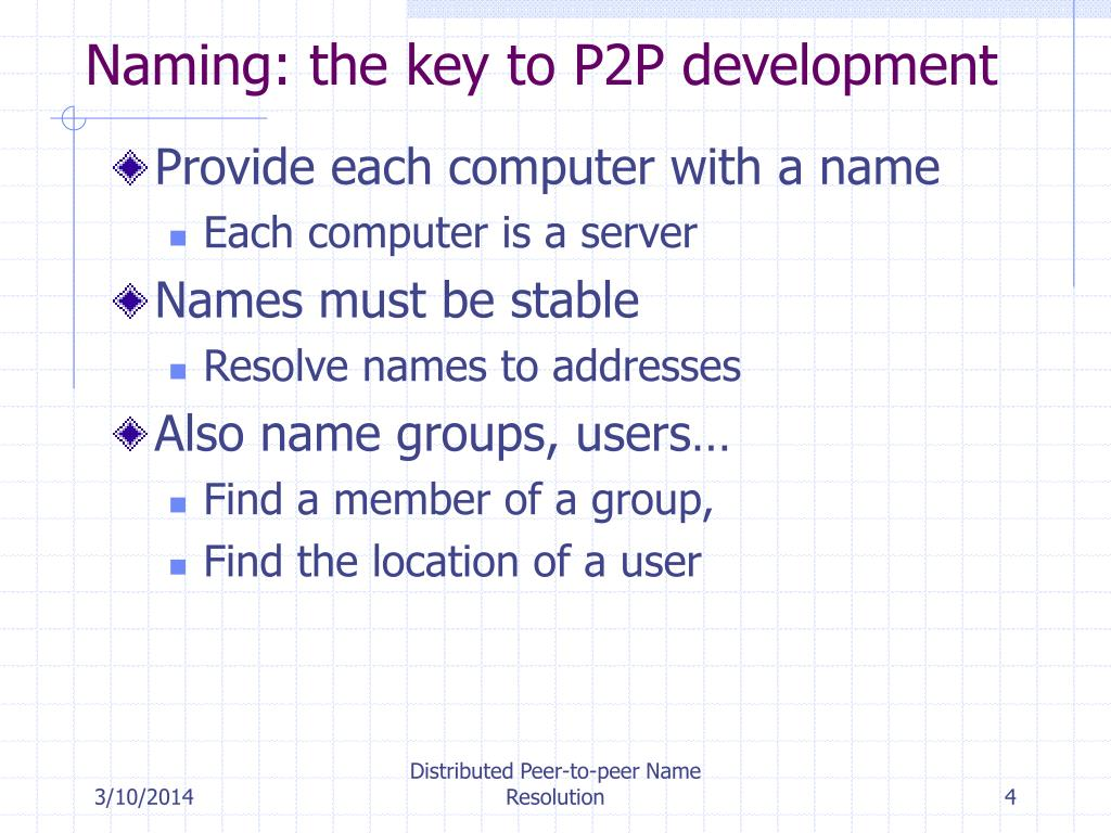Naming: the key to P2P development