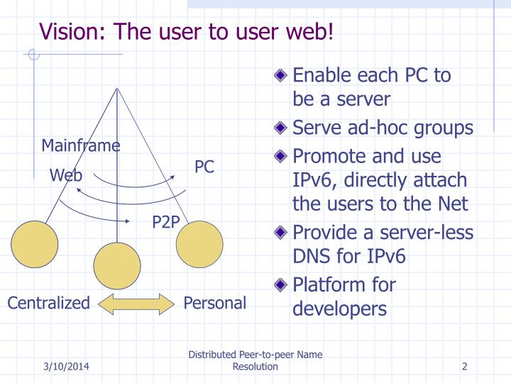 Vision the user to user web