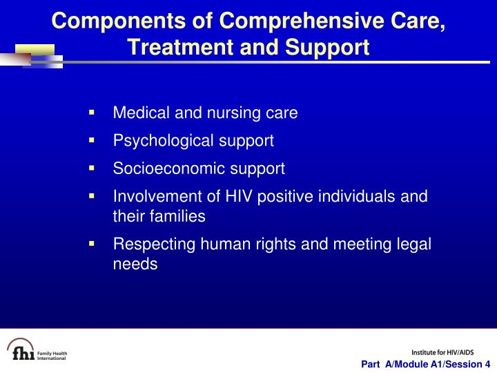 Components of Comprehensive Care, Treatment and Support