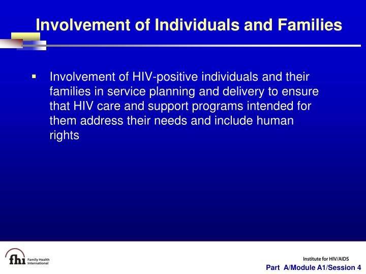Involvement of Individuals and Families