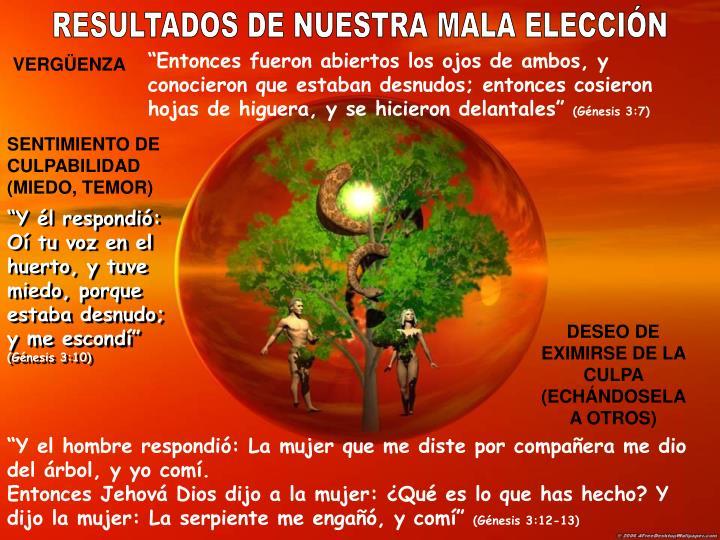 RESULTADOS DE NUESTRA MALA ELECCIÓN
