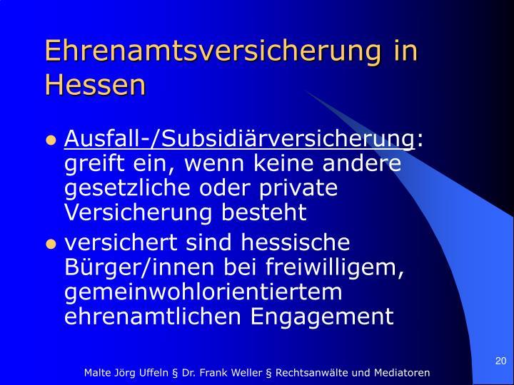 Ehrenamtsversicherung in Hessen