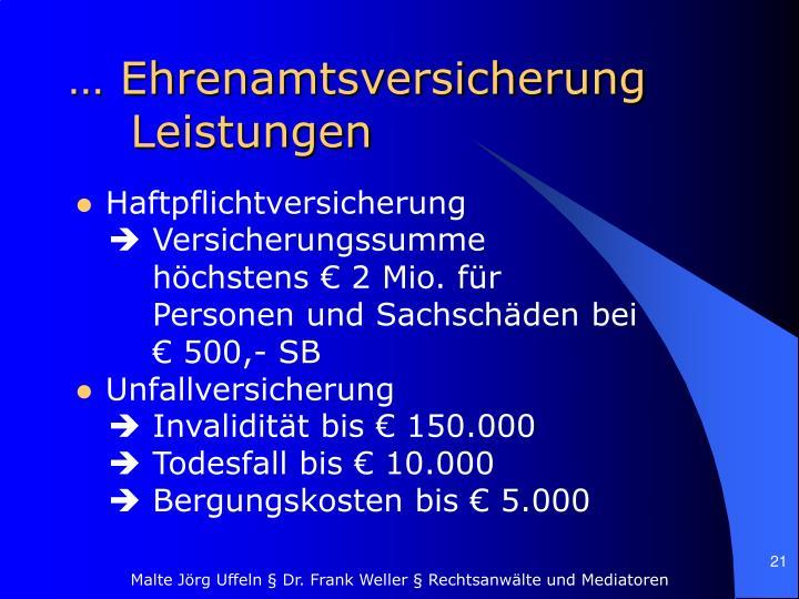 … Ehrenamtsversicherung