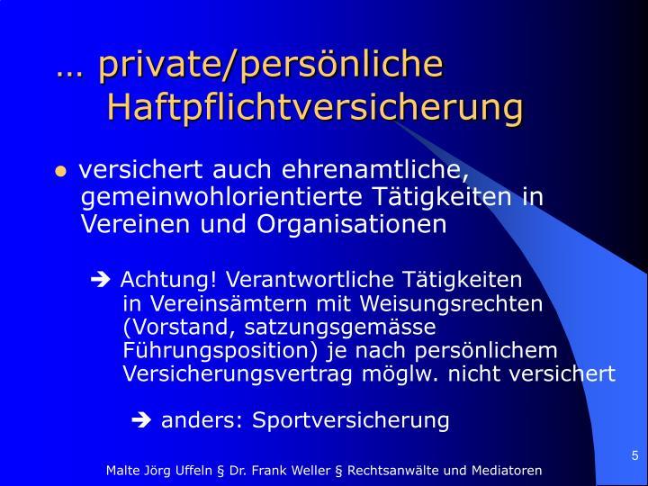 … private/persönliche