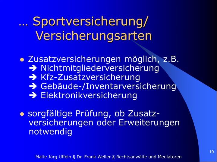 … Sportversicherung/