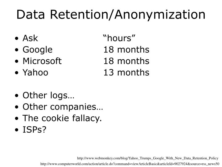 Data Retention/Anonymization