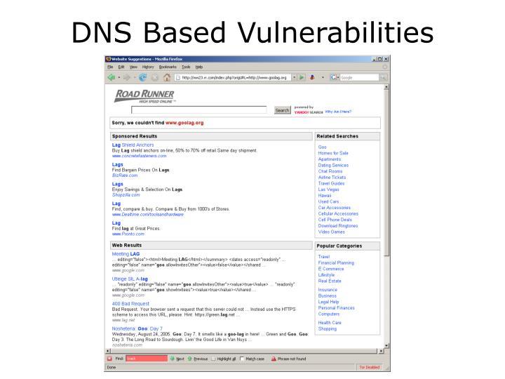 DNS Based Vulnerabilities