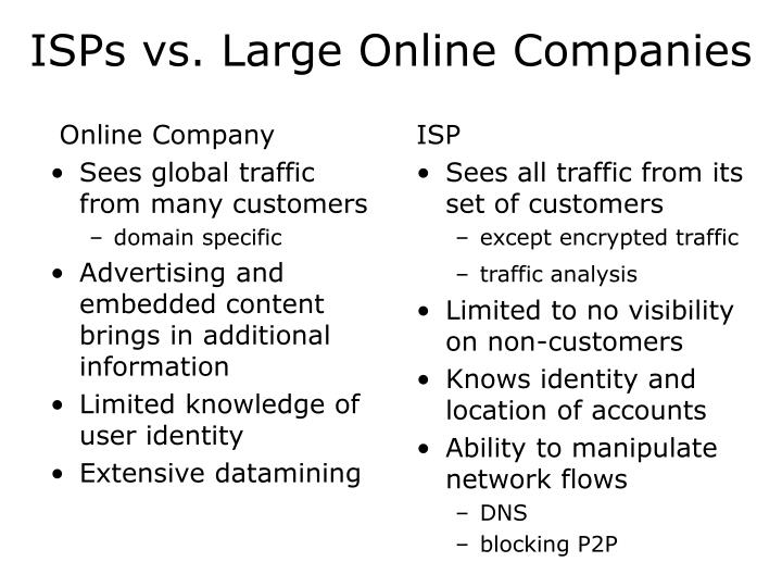 ISPs vs. Large Online Companies