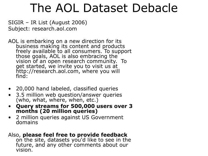 The AOL Dataset Debacle