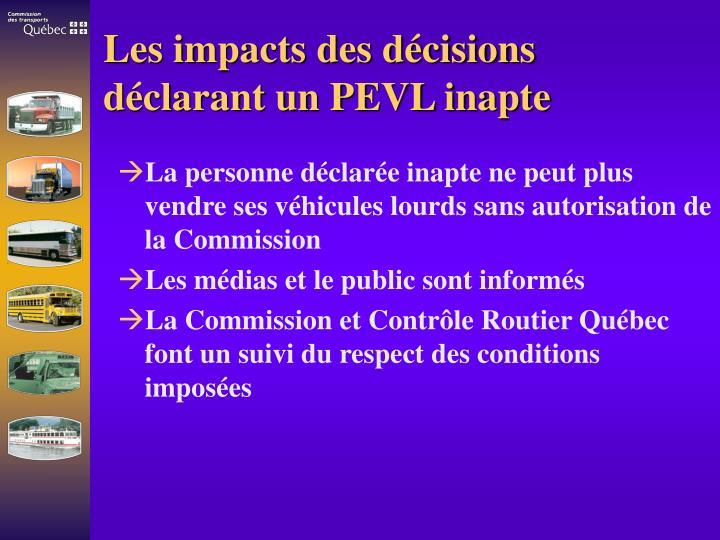 Les impacts des décisions déclarant un PEVL inapte