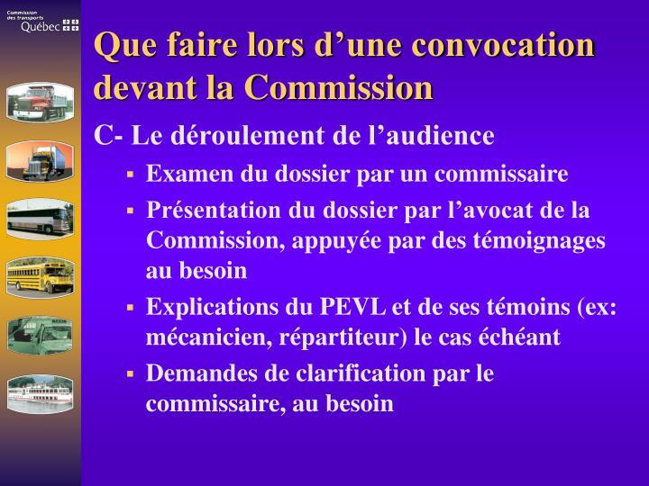 Que faire lors d'une convocation devant la Commission