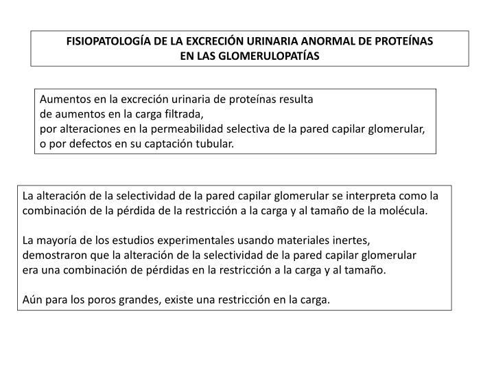 FISIOPATOLOGÍA DE LA EXCRECIÓN URINARIA ANORMAL DE PROTEÍNAS