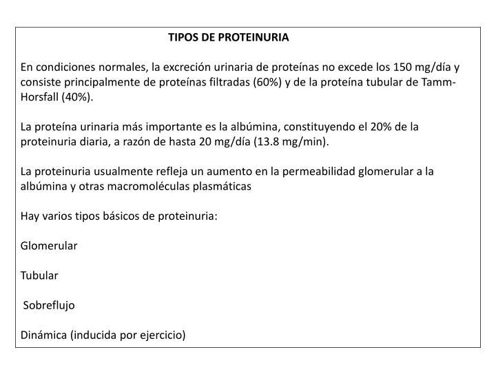 TIPOS DE PROTEINURIA