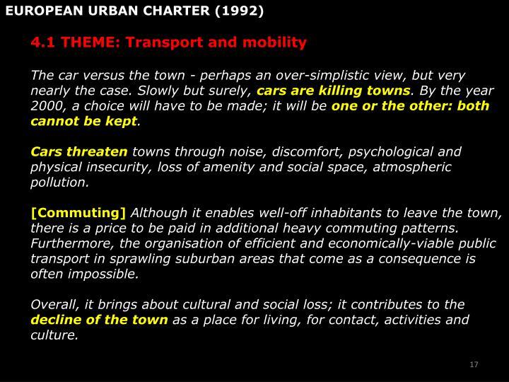 EUROPEAN URBAN CHARTER (1992)