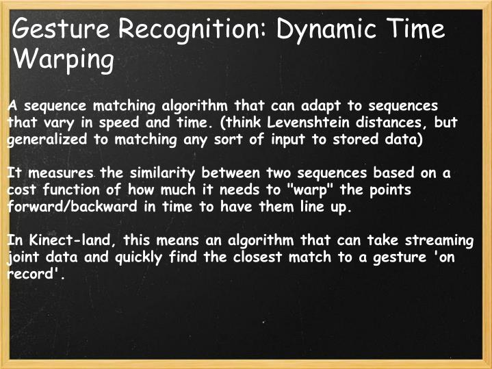 Gesture Recognition: Dynamic Time Warping