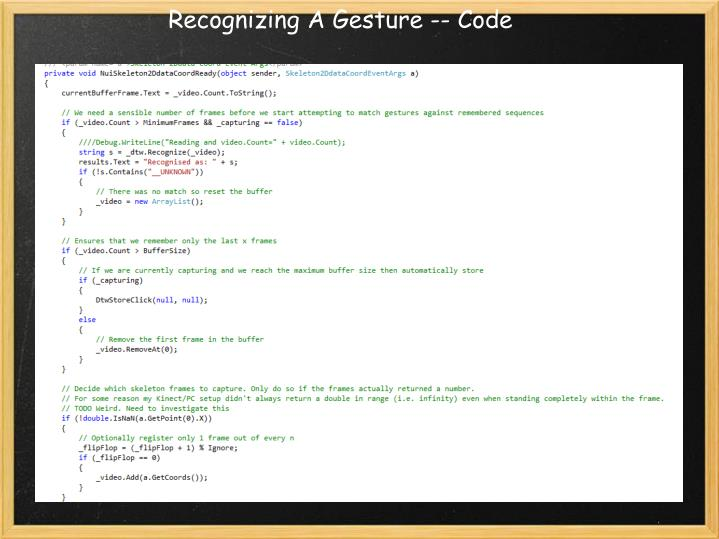 Recognizing A Gesture -- Code