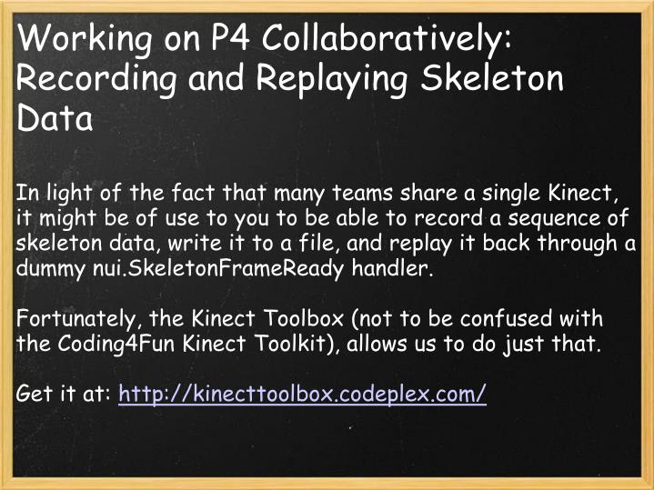 Working on P4 Collaboratively: