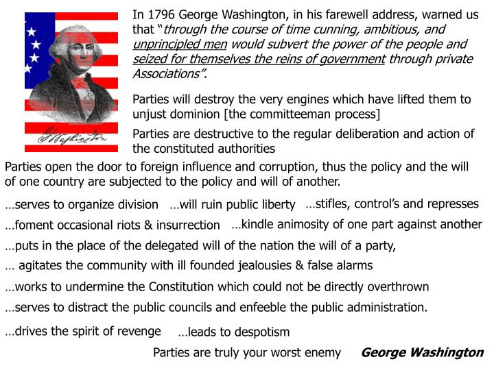 In 1796 George Washington, in his farewell address, warned us that ""