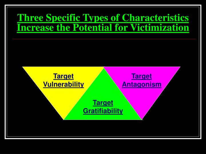 Three Specific Types of Characteristics Increase the Potential for Victimization