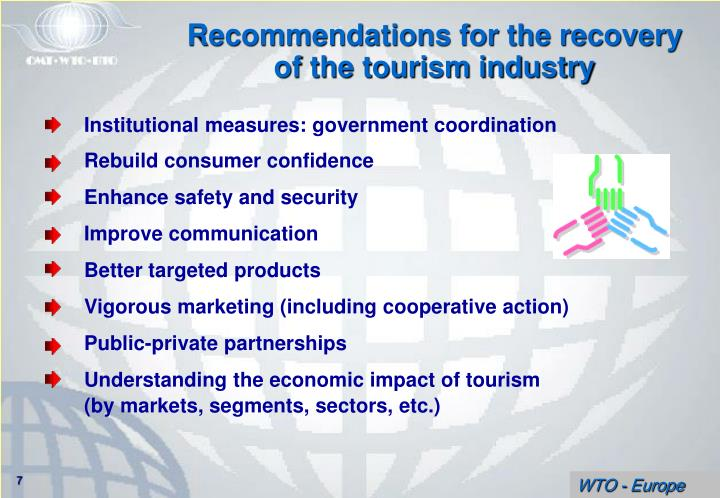 Recommendations for the recovery of the tourism industry