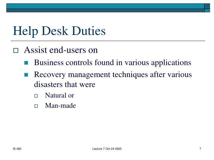 Help Desk Duties