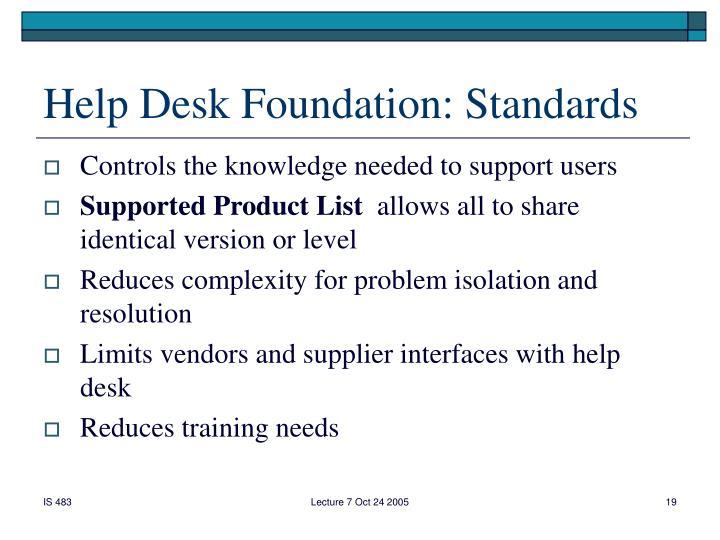 Help Desk Foundation: Standards