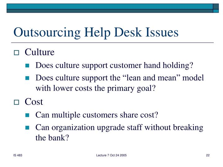 Outsourcing Help Desk Issues
