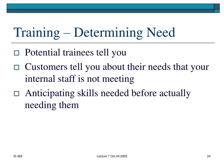 Training – Determining Need