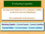 evaluating liquidity