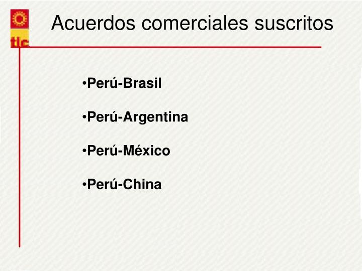Acuerdos comerciales suscritos