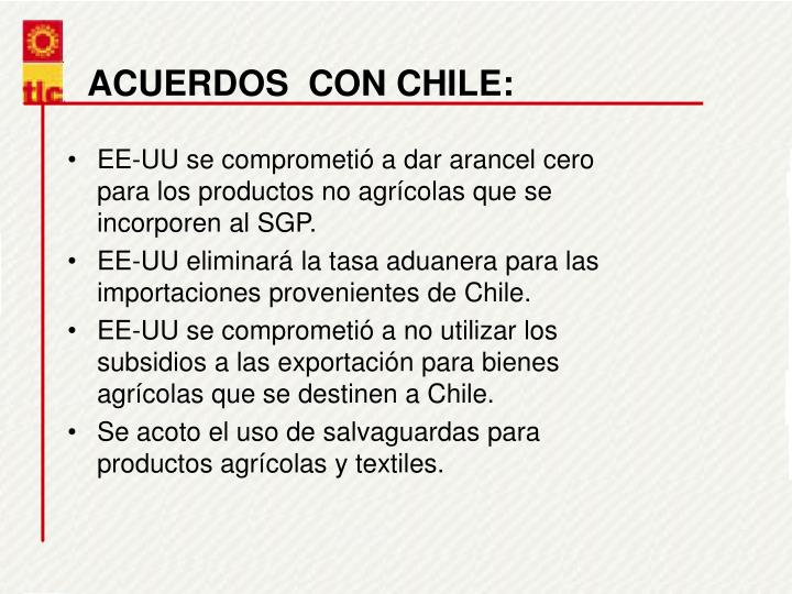 ACUERDOS  CON CHILE: