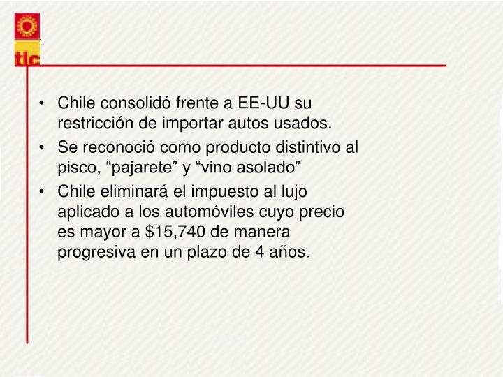 Chile consolid frente a EE-UU su restriccin de importar autos usados.