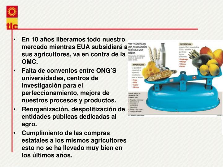 En 10 aos liberamos todo nuestro mercado mientras EUA subsidiar a sus agricultores, va en contra de la OMC.