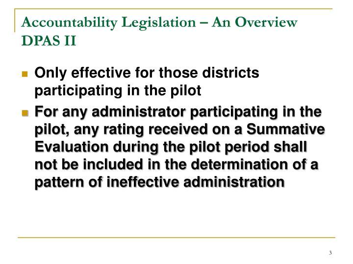 Accountability Legislation – An Overview