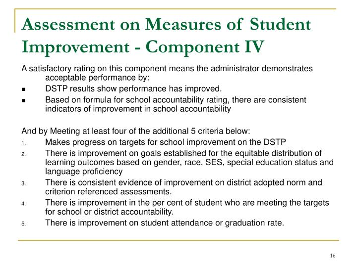 Assessment on Measures of Student Improvement - Component IV