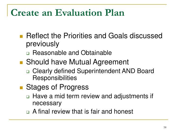Create an Evaluation Plan