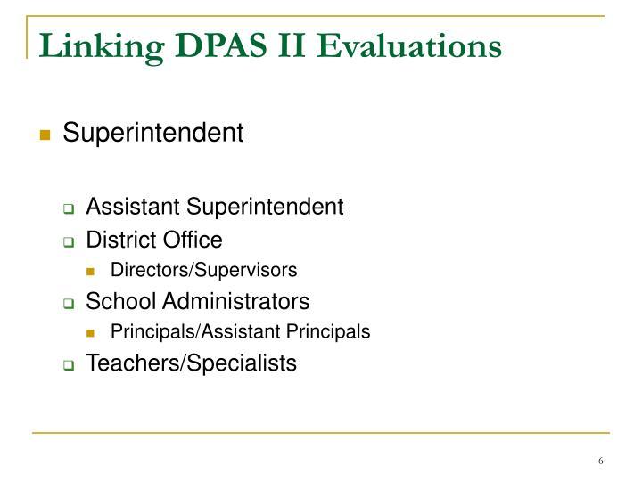 Linking DPAS II Evaluations