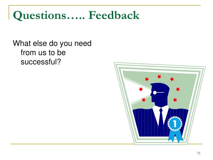 Questions….. Feedback