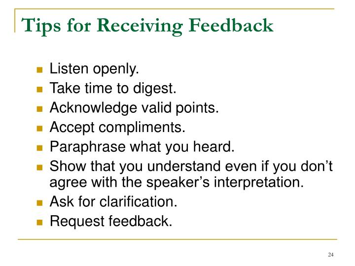 Tips for Receiving Feedback