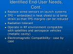 identified end user needs cont