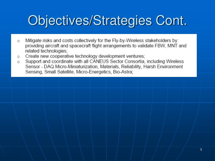 Objectives/Strategies Cont.