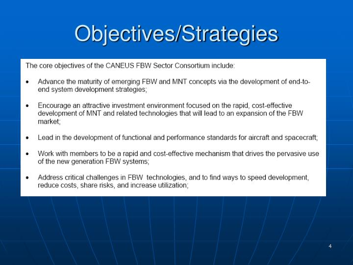 Objectives/Strategies
