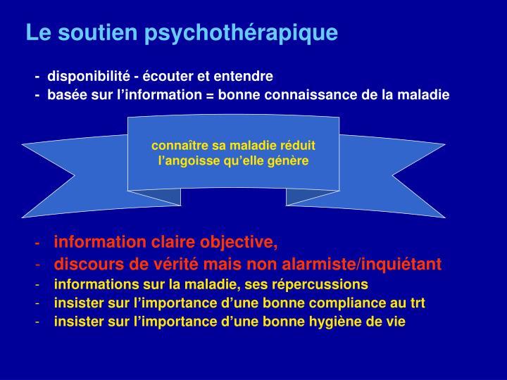 Le soutien psychothérapique