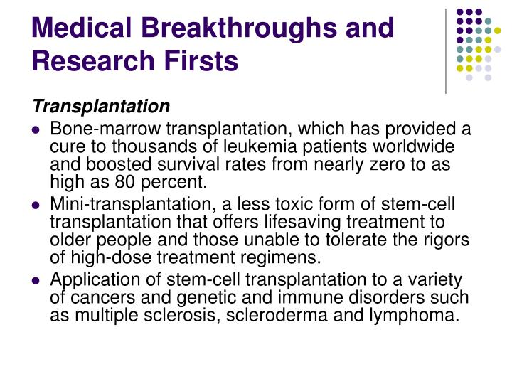 Medical Breakthroughs and Research Firsts